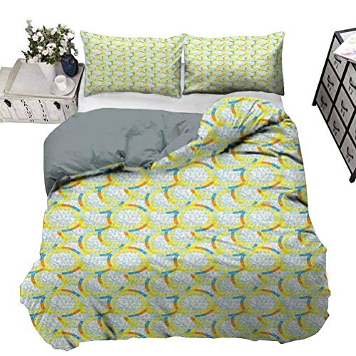 UNOSEKS LANZON Duvet Cover Set Pattern with Natal Astrological Chart Zodiac Signs Planets Horoscope Print Bedding Set for Home, Hotel Collection Yellow Blue Orange Queen - 230 x 230 CM