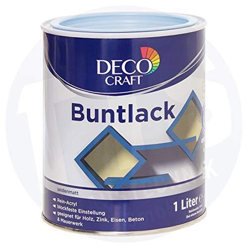 Deco Craft Buntlack Hellblau seidenmatt 1 Liter Rein-Acryl Lack + Grundierung Schnelltrocknend