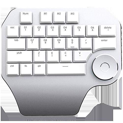 KK Zachary Einhand-Keyboard-Designer-Special-Verknüpfungs-Key-Stimmwerkzeug-Flache Tastatur mit Knopf-High-Effizienz-Tastatur (Color : White)