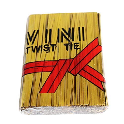 YeahiBaby 1000pcs Metallic Twist Krawatten Plastiktüte Sealers Geschenkpapier Draht für Süßigkeiten Cookies Brot Schokolade Jelly Bags 10cm Golden