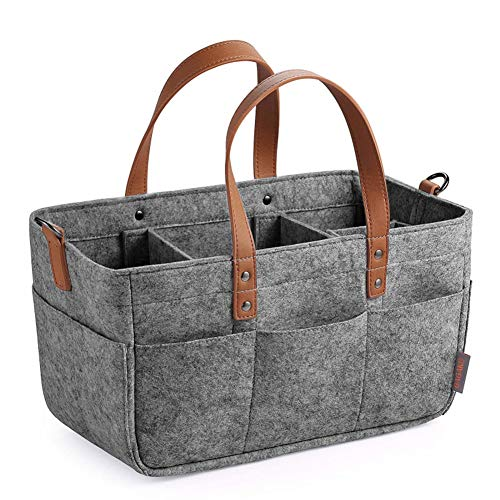 Diaper Organizer, Baby Diaper Caddy Organizers, Portable Diaper Bag Baby Diaper Felt Organizer with Changeable Compartments for Baby Items,Gray,33x15x18cm