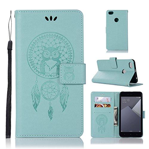 sinogoods Für Xiaomi Redmi Note 5A Hülle, Premium PU Leder Schutztasche Klappetui Brieftasche Handyhülle, Standfunktion Flip Wallet Case Cover - Grün