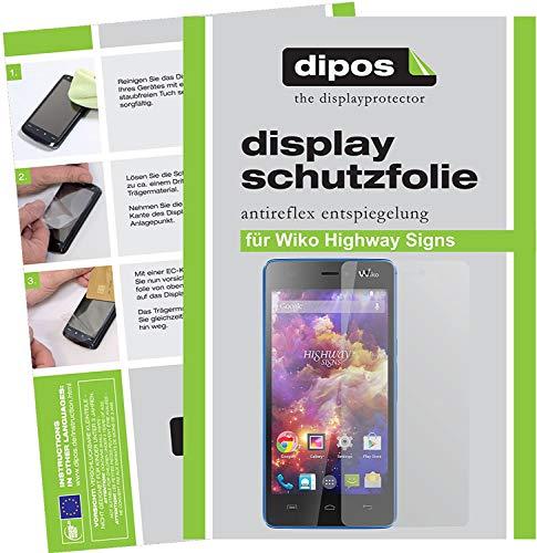 dipos I 2X Schutzfolie matt kompatibel mit Wiko Highway Signs Folie Bildschirmschutzfolie