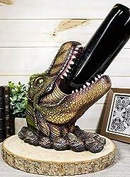 4. Ebros Large 10.75″ Prehistoric Dinosaur T-Rex Head Wine Bottle Holder