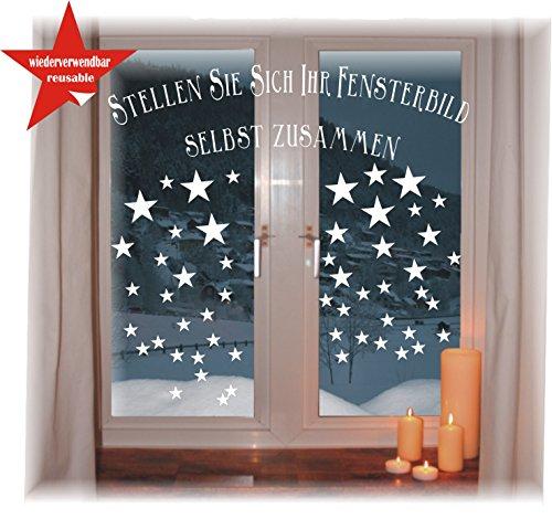 das-label Wiederverwendbare winterliche Fensterbilder weiß   Sterne in 3 Größen   Weihnachten   Fensterdeko   konturgetanzt ohne transparenten Hintergrund (Sterne)