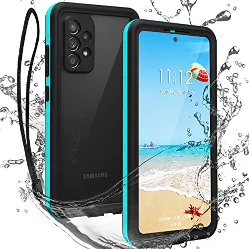 ShellBox Funda Samsung A52 6.5 Pulgadas Carcasa Resistente Al Agua Anti-Rasguños Protección de 360 Grados Carcasa para Samsung Galaxy A52 5G con Protector de Pantalla Incorporado (Azul)