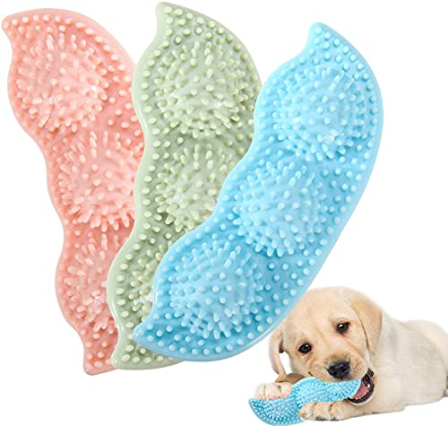 Dog Chew Toys, Teething Toy for Puppy, Pea Shape Pet Toothbrush, Soft Teething Rubber Pick Up Sticks Toy for Small Medium Dogs Interactive Durable Teeth Cleaning Toy for Dental Care 3 PCS