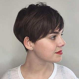 Jiayi Short Pixie Cut Wigs for Black Women Mushroom Human Hair Premium Blend Wig Glueless Afro Short Straight Wig with Ban...