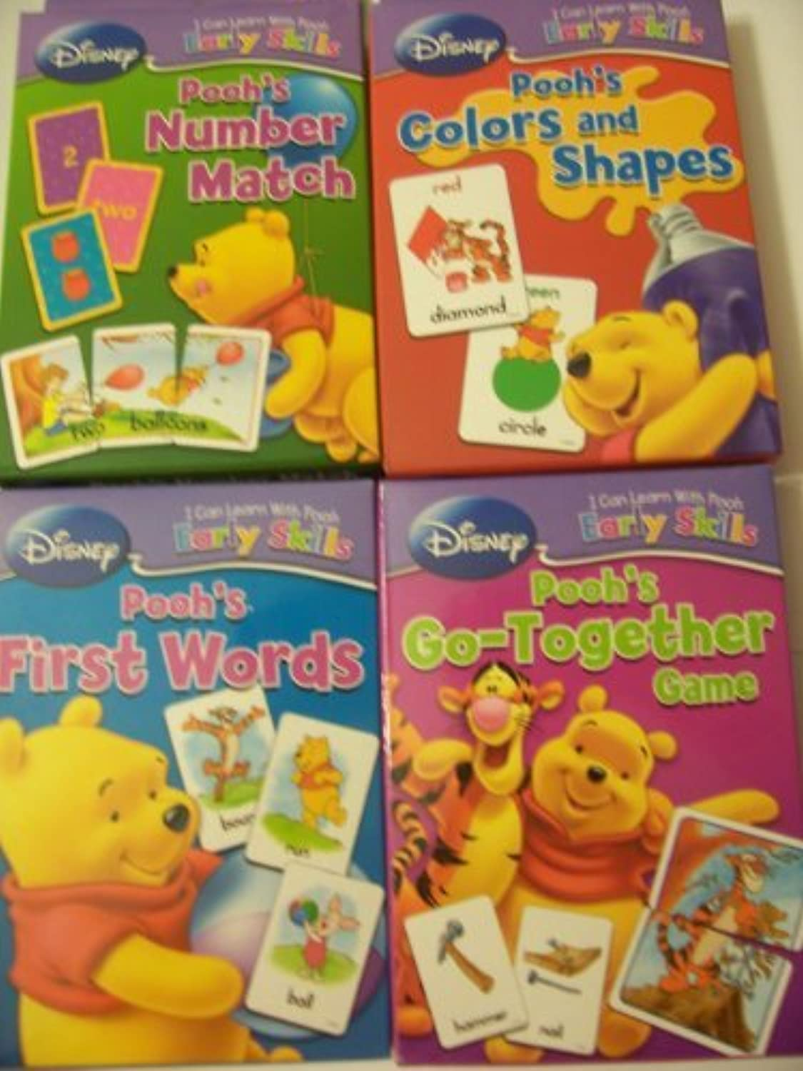 Disney I Can Learn with Pooh Early Skills Card Games  Complete Set (First Words, Number Match, colors & Shapes, GoTogether Game) by Winnie the Pooh