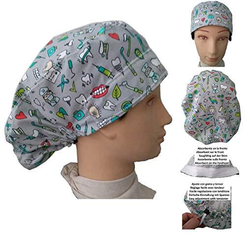 OP-Haube Instrumentelle Odontologie für langes Haar. Mit absorbierendem auf der Stirn, Gummi mit justierbarem Spanner einfach und bequem