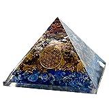 wave the stone オルゴナイト フラワーオブライフ ピラミッド型 電磁波防止 ラピスラズリxタイガーアイx MIX さざれ 金属 大きいサイズ 約70x70mm パワーストーン 浄化