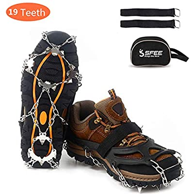 Sfee Ice Snow Grips Crampons Traction Cleats Spikes 19 Spikes for Women Men,Anti Slip Stainless Steel Chain Flexible Footwear for Walking Climbing Hiking Fishing Outdoor(Black,XL(US:11-13))