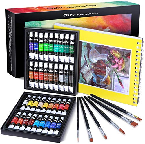 Watercolor Paint Tubes, 36 Water Colors Ohuhu Art Watercolors Painting Kit for Artists, Students, Beginners, Water-color Paints Kit for Landscape Portrait on Canvas, 12ml Art Supplies Father's Day