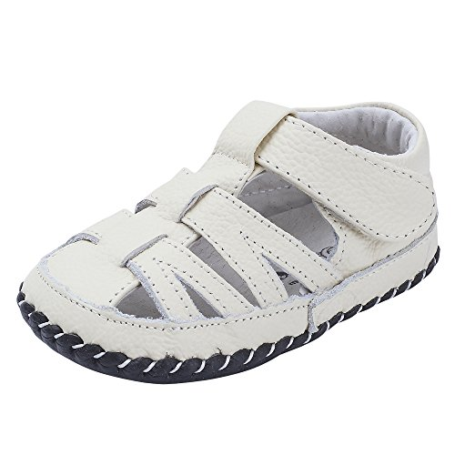 Baby Boys Girls Genuine Leather Soft Bottom Sandals First Walkers Shoes (13.5cm(18-24months), White)