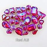 PENVEAT 50 pc/Sacchetto 15 11 Modi per mescolare Definizione Artiglio di Cristallo di Colore Oro ab cuce sui Cristalli di Strass Scarpe da Sposa Borse Fai da Te, A11 Rosso AB Vestono