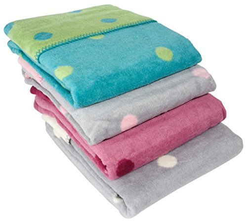 ByBoom - Erstlingsdecke/Babydecke/Kuscheldecke 100% Baumwollfleece 75x100 cm mit Punkten; MADE IN EU, Farbe:Grau/Rosa
