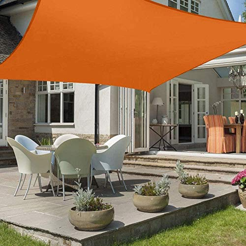 LIH Sonnensegel Sonnenschutz Polyester Windschutz Wetterschutz Wasserabweisend Imprägniert 98{ff9fe6b8ed225da03f759c1e7d66ff02f83d040215ca4174abcd80b694fcab93} UV Schutz Für Garten Outdoor Terrasse Camping Party Mit Seilen(2X3M,3X3M,3X4M,3.6X3.6M),Orange-3.6X3.6M