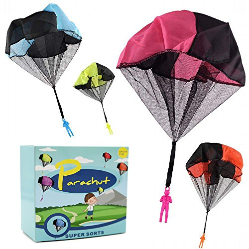 DASEY 4PCS Set Tangle Free Throwing Parachute Figures Hand Throw Soliders Parachute Square Outdoor Children's Flying Toys | No Strings No Batteries Toss It Up