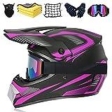 Juego de casco de motocross, casco de moto, con certificación DOT, casco para downhill, para niños, para BMX, MTB, Quad, Enduro, ATV, Roller (D,S (55-56 cm)