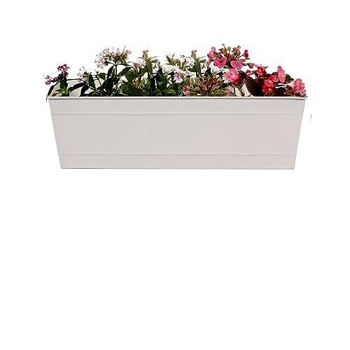 TrustBasket Rectangular Railing Planter - White(18 Inch)