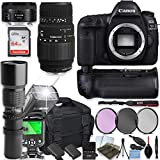Canon EOS 5D Mark IV DSLR Camera with Sigma 70-300mm Lens and 50mm Lens + 500mm Preset Telephoto Lens + 64GB Memory + Camera Case + 2 Batteries + Power Battery Grip + Professional Accessory Bundle