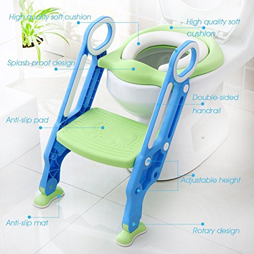 Mangohood Potty Training Toilet Seat with Step Stool Ladder for Boys and Girls Baby Toddler Kid Children Toilet Training Seat Chair with Handles Padded Seat Non-Slip Wide Step (Blue Green)
