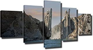 ZHFFYY Canvas Painting 5 Panel HD Print Painting Lord of Ring Canvas Wall Art 5 Piece Movie Poster Picture Home Decoration Print