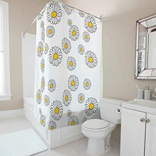 WellWellWell Zasłona prysznicowa z stokrotek kwiatowych kolorowa łazienka zasłony można prać w pralce biała 200 x 180 cm