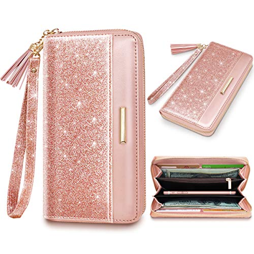 Wallets for Women Pink Glitter Leather Card Holder Organizer Ladies Clutch with Tassel Wristlet Wrist strap
