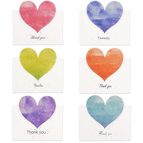 Kuuqa 36 Stück Herz danke Karten mit 36 Umschlägen und 36 Aufkleber Herzförmige Karte zum Valentinstag (6 Designs/Farbe)