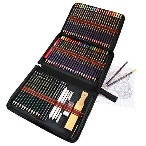 lapices colores acuarelables profesionales,dibujos a lapiz con color y Herramientas de dibujo,72 dibujos a lapices de acuarela con color y herramientas de dibujo para colorear libros y aulas.