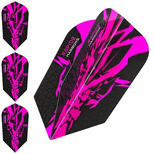 HARROWS Rapide X Dart Flights, 100Micron–Schlank, Pink–5Sets (15)–mit Darts Ecke gebogen Kugelschreiber