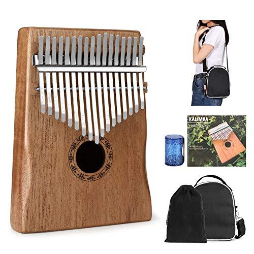 Kalimba Pouce Piano 17 clés, portable et facile à utiliser, piano à doigts avec manuel d'apprentissage et marteau d'accordage, cadeau parfait pour les débutants comme les professionnels