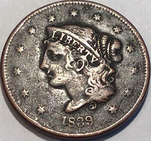 1839 Coronet Large Cent Bobby Head Penny Very Fine