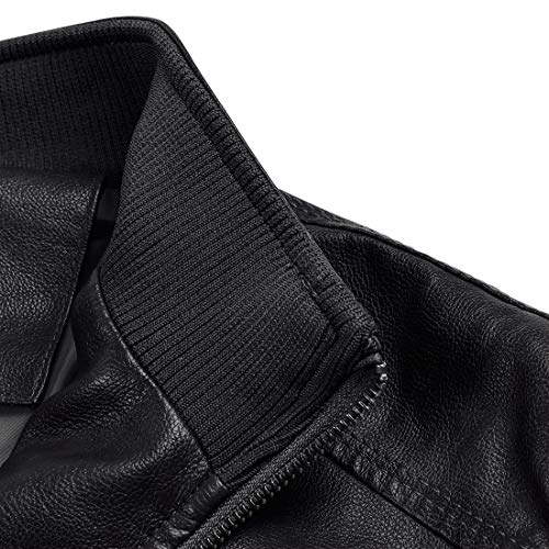 MAGE MALE Mens Leather Jacket Slim Fit Stand Collar PU Motorcycle Jacket Lightweight