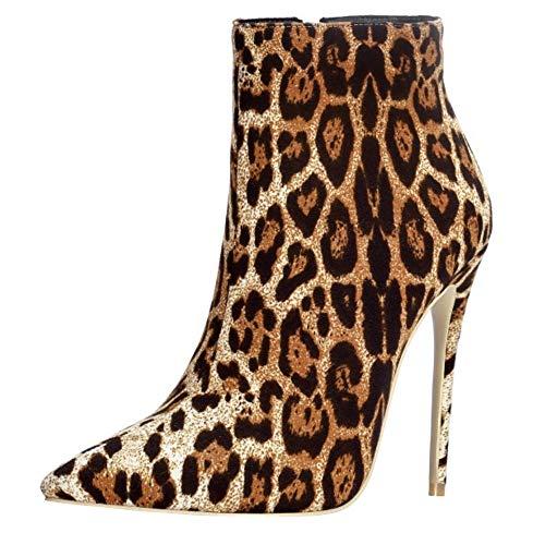 Lydee Frau Mode Stiefeletten Stiletto Heels Abend Party Booties Pointed Toe Dress Kurze Stiefel Animal Print Snake Leopard Gr 39