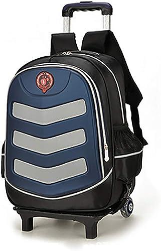 QCC& 3D Reflektierend Schulrucksack Entfernbar Wasserdicht Rollender Rucksack Kindergep  Mit Entfernbar Rod Ziehen 7-12 Jahre Alt,C