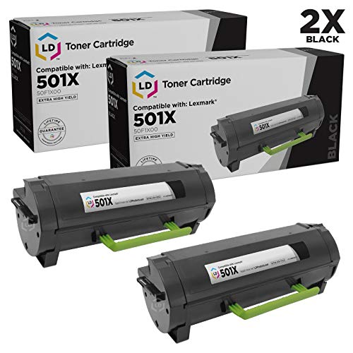 LD Compatible Toner Cartridge Replacement for Lexmark 501X 50F1X00 Extra High Yield (Black, 2-Pack)