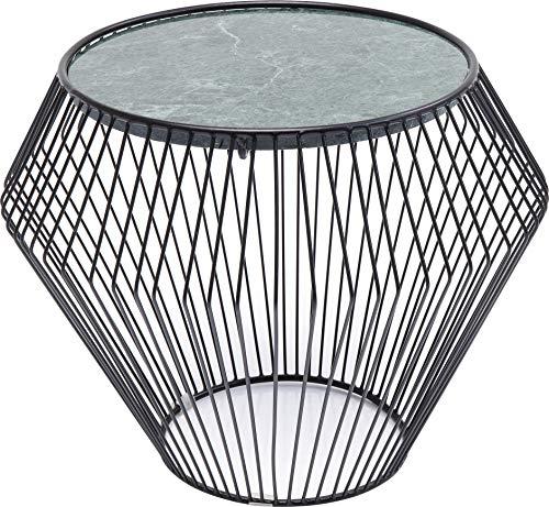 Kare Design Beistelltisch Beam Grün Marmor Schwarz Ø40cm (H/B/T) 32 43 43