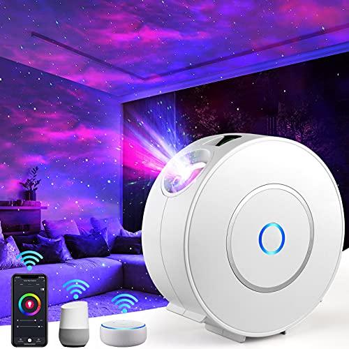 Proyector LED Alexa de cielo estrellado Milfech, lámpara de proyector de estrellas RGB, atenuación con 3D Galaxy, compatible con Alexa Google Assistant, luz nocturna para bebés