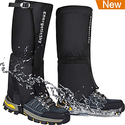 EnergeticSky Leg Gaiters Waterproof Snow Boot Gaiters for Men and Women,Gaiters for Hiking,Snowshoeing,Hunting,Climbing,Running,1000D Anti-Tear Oxford Cloth Hiking Gaiters.