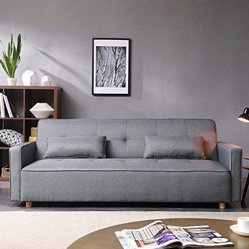 CONCEPT USINE - Canapé Scandinave Convertible 3 Places Copenhague + 2 Coussins - Canapé Moderne Design Droit avec Accoudoirs - Coussins DAppoint, Dossier Et Assise Déhoussables - Largeur 213 cm