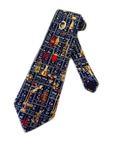 LREFON Cravate de science de chimie de tableau périodique pour homme - Bleu - Cravate