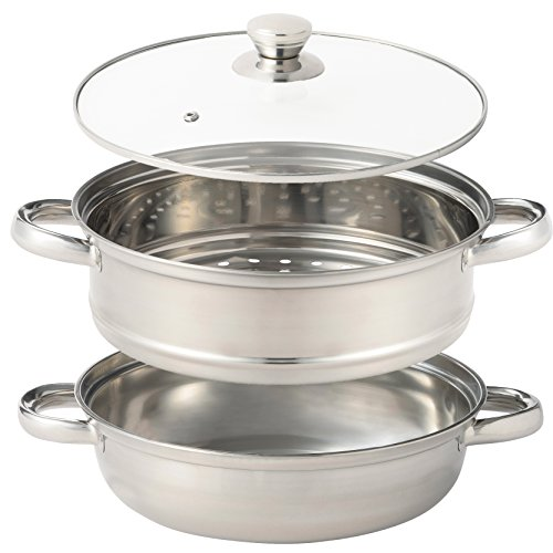 2つの料理が楽しめる IH対応 ステンレス 2層 万能鍋 両手鍋 28cm ガラス 鍋蓋 付き(蒸し器 両手鍋 として)