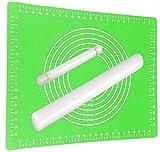 Ausrollstab 43 + 22cm mit Backmatte Silikon Grün | Antihaft - Hitzebeständig | Teigroller mit Teigmatte 60x40cm Set