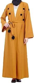 neveraway Women's Pompon Cardigan Muslim Dubai Arab Islamic Kaftan Long Dress