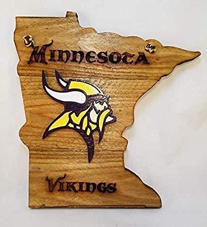 SIGNS Holzschild, 34 x 29 cm, Minnesota Vikings zum Aufhängen, Holzschnitt, lustig, in Staatsform, handbemalt, Wandbehang aus Holz