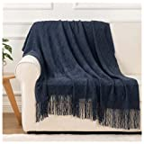 BATTILO HOME Soft Throw Blanket Warm & Knitted Blankets with Decorative Fringe Lightweight for Bed or Sofa Decorative, 52' x 80'