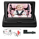 Baby Car Mirror,View Infant in Rear Facing/back Seat With Infrared Night Vision,Camera 360°adjustable,Wide Angle Easy to Watch Baby's Every Move