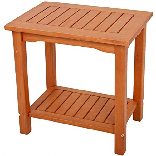 Unbekannt Beistelltisch Akazie geölt 50x35x50 Gartentisch Ablage Holz Holz Balkon Möbel